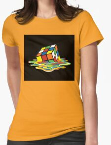 Melting Rubix Cube Womens Fitted T-Shirt