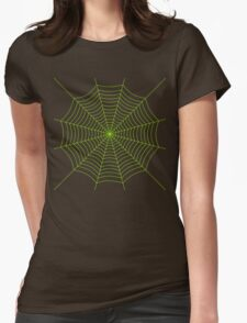 Neon green spider web Womens Fitted T-Shirt
