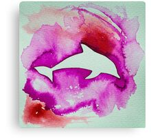 Dolphin in pink Canvas Print