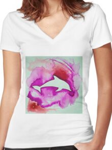 Dolphin in pink Women's Fitted V-Neck T-Shirt