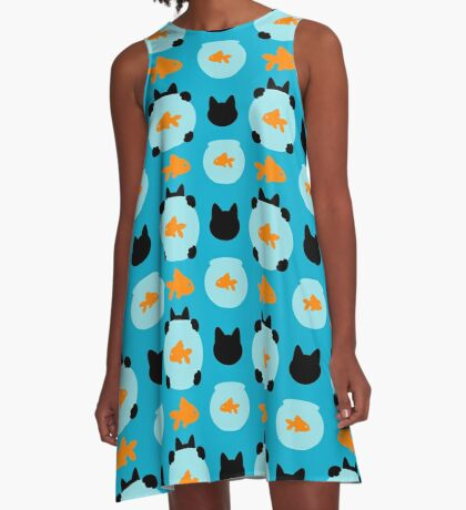 Fishbowl and a Cat Pattern A-Line Dress