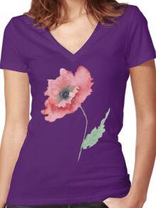 Venetian Poppy Women's Fitted V-Neck T-Shirt