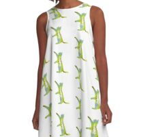 These Cats Are Green: Cat Reaching A-Line Dress
