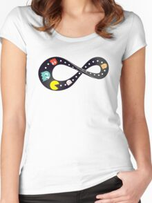 Pacman Retro Mobius Strip Women's Fitted Scoop T-Shirt
