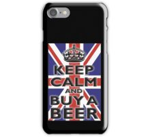 UNION JACK, BRITISH, FLAG, BLIGHTY, KEEP CALM & BUY A BEER, UK, ON BLACK iPhone Case/Skin