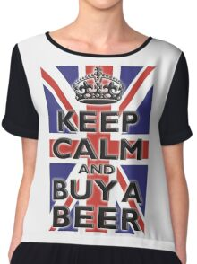 UNION JACK, BRITISH, FLAG, BLIGHTY, KEEP CALM & BUY A BEER, UK, ON BLACK Chiffon Top