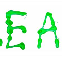 Clean written with green paint on white background Sticker