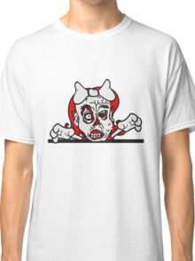 wand mauer schild rahmen mädchen frau girl süß sexy ekelig monster horror halloween zombie design  Classic T-Shirt