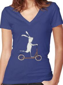 scooter - blue Women's Fitted V-Neck T-Shirt