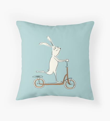 scooter - blue Throw Pillow