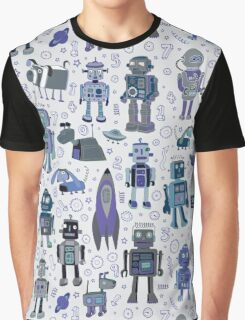 Robots in Space - blue and grey Graphic T-Shirt