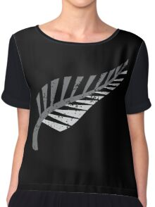 Silver fern distressed  Chiffon Top
