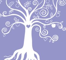 Tree of Life - white on pale blue Sticker