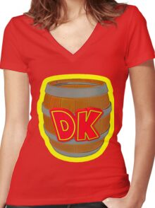 Donkey Kong Country - DK Barrel  Women's Fitted V-Neck T-Shirt