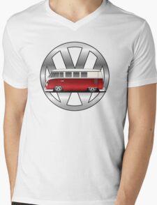 Slammed Red and White Transporter Mens V-Neck T-Shirt