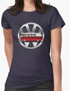 Slammed Red and White Transporter Womens Fitted T-Shirt