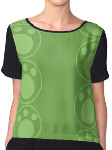 Green Pawprint Chiffon Top