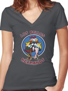 -BREAKING BAD- Los Pollos Hermanos Women's Fitted V-Neck T-Shirt