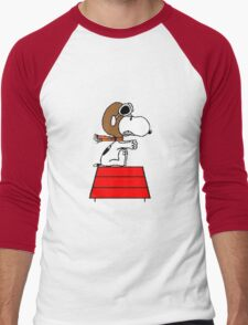 flying pilot snoopy fun Men's Baseball ¾ T-Shirt
