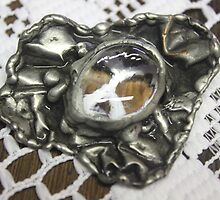 Clear Stained glass jewel brooch by Maree  Clarkson