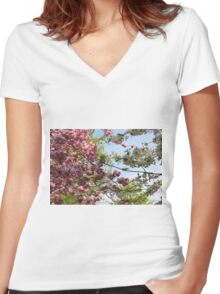 Pink and White Blossoms Women's Fitted V-Neck T-Shirt