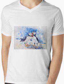 Puffins Mens V-Neck T-Shirt