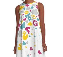 Toys falling like candies - white A-Line Dress