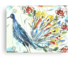 Peacock in Blossom Canvas Print