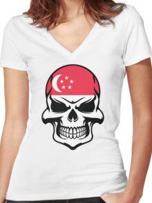 Singaporean Flag Skull Women's Fitted V-Neck T-Shirt
