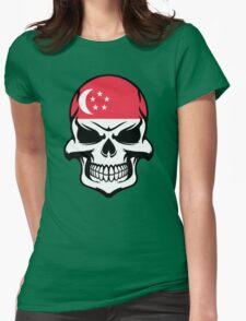 Singaporean Flag Skull Womens Fitted T-Shirt