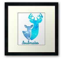 Doe and Stag soulmates Framed Print
