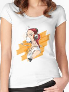 T-shirt Girl Graffiti Music Women's Fitted Scoop T-Shirt