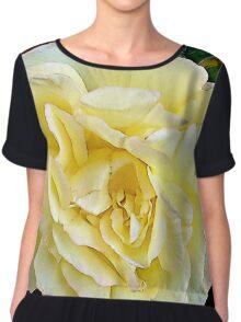 Floral Yellow Blush Rose Chiffon Top