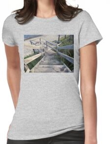 Staircase to the waters edge Womens Fitted T-Shirt