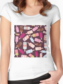 Icecream on brown background Women's Fitted Scoop T-Shirt