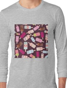 Icecream on brown background Long Sleeve T-Shirt