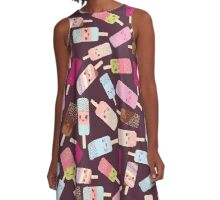 Icecream on brown background A-Line Dress