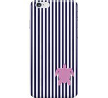 Navy Blue/Pink Seaturtle Seersucker Nautical Print iPhone Case/Skin