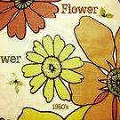 Flower Power Green Brown by Jenny Davis