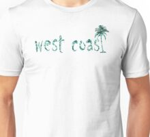 """West Coast"" Teal Tropical Floral Palm Tree Shirts & More Unisex T-Shirt"