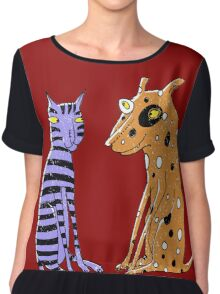 Opposites Attract Cat and Dog Chiffon Top