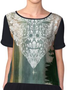 White Heart in Winter Sunset Women's Chiffon Top