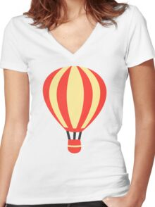 Classic Red and Yellow Hot air Balloon Women's Fitted V-Neck T-Shirt