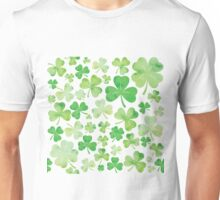 St Patricks Day Green Watercolour Shamrock Pattern Unisex T-Shirt