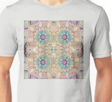 Flower pattern on wood block kaleidoscope Unisex T-Shirt