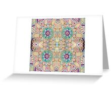 Flower pattern on wood block kaleidoscope Greeting Card