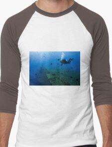 Diver at the MS Zenobia shipwreck.  Men's Baseball ¾ T-Shirt