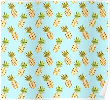Watercolour Pineapples Pattern Poster
