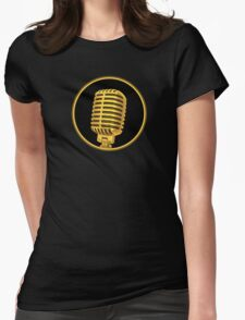 Vintage Gold Microphone Womens Fitted T-Shirt