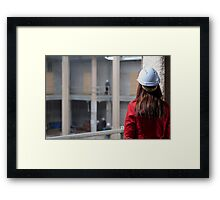 Construction Site-Lady In Red  Framed Print